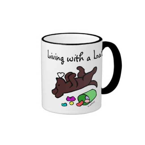 Funny Chocolate Labrador Cartoon Illustration Mug
