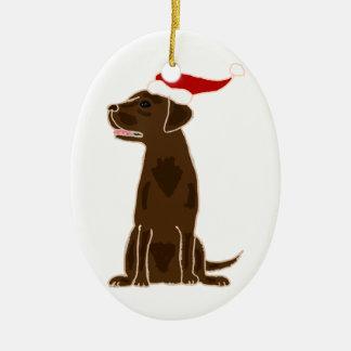 Funny Chocolate Labrador Retriever Christmas Art Christmas Ornament