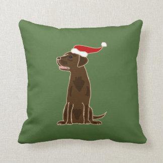 Funny Chocolate Labrador Retriever Christmas Art Cushion