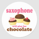 Funny Chocolate Saxophone Classic Round Sticker