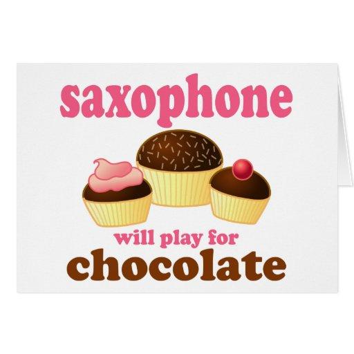 Funny Chocolate Saxophone Greeting Card