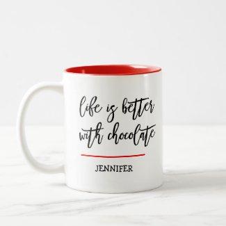 Funny Chocolate Theme Two-Tone Coffee Mug