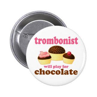 Funny Chocolate Trombonist Gift 6 Cm Round Badge