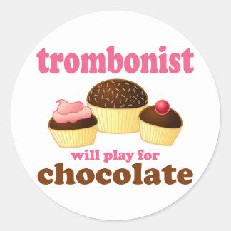 Funny Chocolate Trombonist Gift Classic Round Sticker