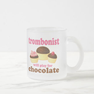 Funny Chocolate Trombonist Gift Frosted Glass Mug