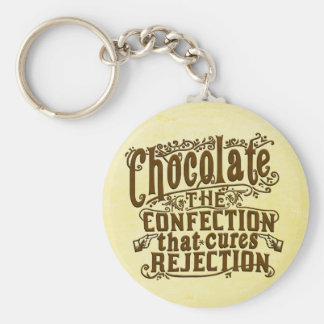 Funny Chocolate Writer Rejection Cure Basic Round Button Key Ring