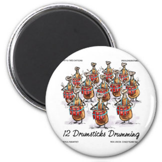 Funny Christmas 12 Drumsticks Drumming Gifts & Tee Magnets