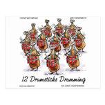 Funny Christmas 12 Drumsticks Drumming Gifts & Tee Postcard