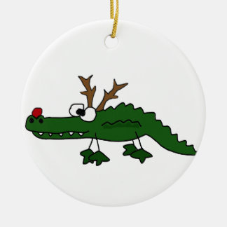 Funny Christmas Alligator as Reindeer Christmas Ornament