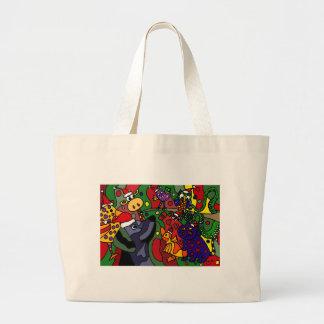 Funny Christmas Animals Abstract Art Original Bags