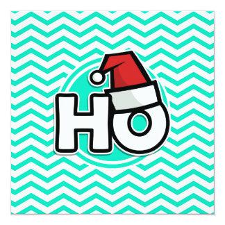 Funny Christmas; Aqua Green Chevron 13 Cm X 13 Cm Square Invitation Card