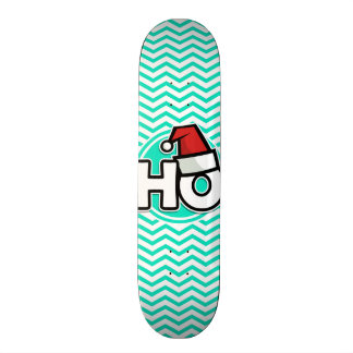 Funny Christmas Aqua Green Chevron Skateboards