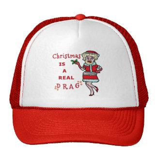 Funny Christmas Bah Humbug Santa in Drag Hats