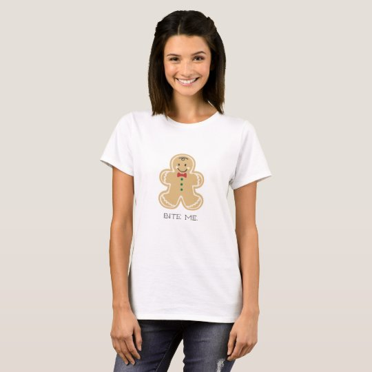 Funny Christmas Bite Me Gingerbread Man T-Shirt