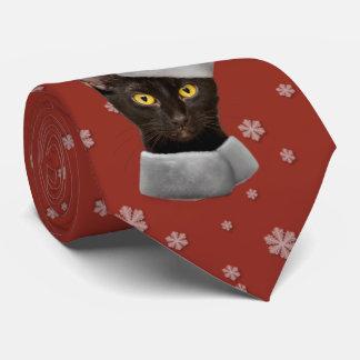 Funny Christmas Black Santa Cat Tie