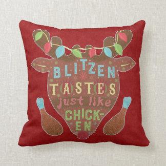 Funny Christmas Blitzen Chicken Reindeer Humor Cushion