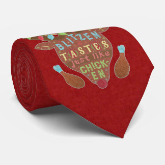 Funny Christmas Blitzen Chicken Reindeer Humor Tie