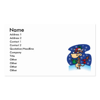 funny christmas caroling cow cartoon business card template
