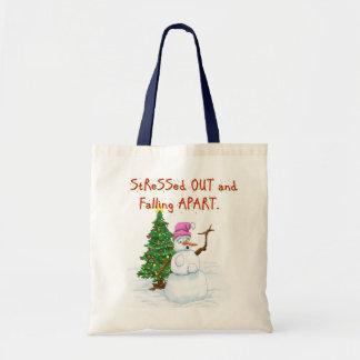 Funny Christmas cartoon of lady snowman Budget Tote Bag