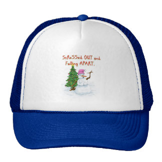 Funny Christmas cartoon of lady snowman Mesh Hat
