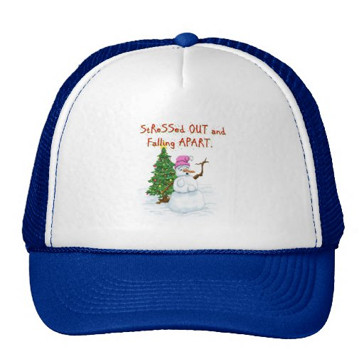 Funny Christmas cartoon of lady snowman Mesh Hat