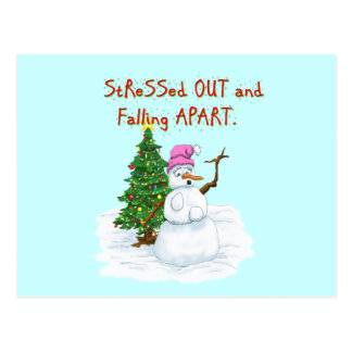 Funny Christmas cartoon of lady snowman Postcard