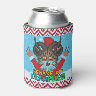 Funny Christmas Cat Humor Krampuss Holidays Pun Can Cooler