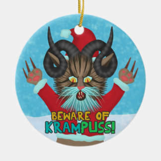 Funny Christmas Cat Humor Krampuss Holidays Pun Christmas Ornament