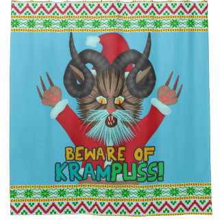 Funny Christmas Cat Humor Krampuss Holidays Pun Shower Curtain