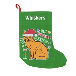 Funny Christmas Cat Pun Feline Festive Holiday Pet Small Christmas Stocking
