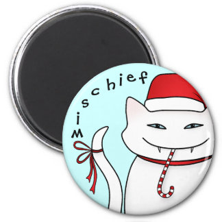 Funny Christmas cat white 6 Cm Round Magnet