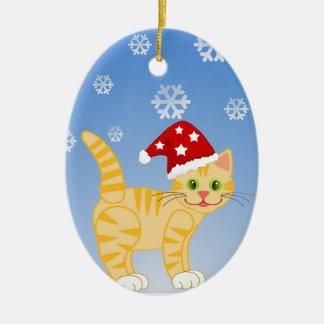 Funny Christmas Cat yellow Snowflakes Christmas Ornament