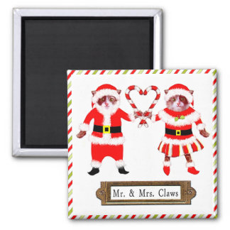 Funny CHRISTMAS CATS Square Magnet