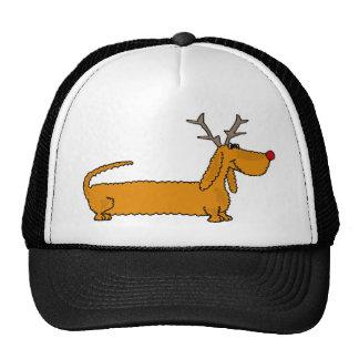 Funny Christmas Dachshund as Reindeer Cap