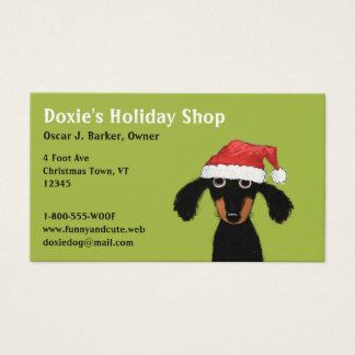 Funny Christmas Dachshund Holiday Business Card