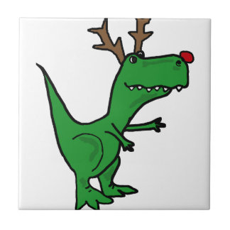 Funny Christmas Dinosaur as Reindeer Small Square Tile