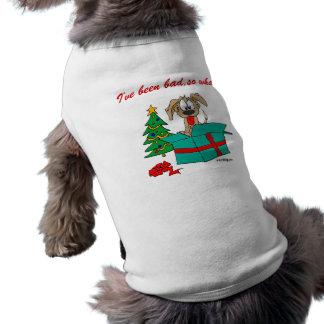 Funny Christmas Dog I've Been Bad, So What? Sleeveless Dog Shirt