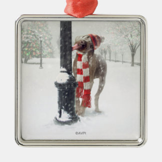 Funny Christmas Dog Licks Pole Christmas Ornament
