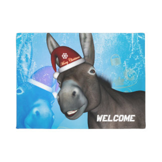 Funny christmas donkey with christmas hat doormat