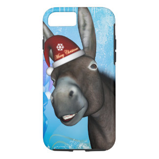 Funny christmas donkey with christmas hat iPhone 7 case