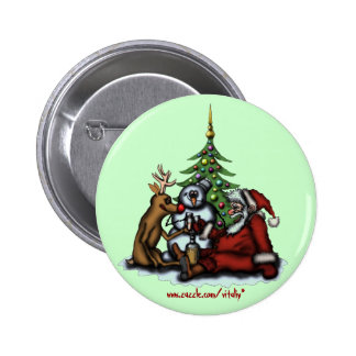 Funny Christmas drinking party cartoon art button