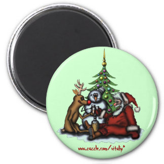 Funny Christmas drinking party cartoon art magnet