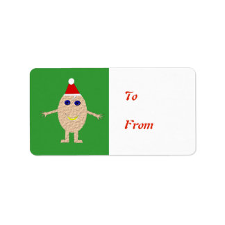 Funny Christmas Egg Present Tag Label