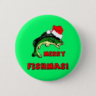 Funny Christmas fishing 6 Cm Round Badge