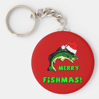 Funny Christmas fishing Basic Round Button Key Ring