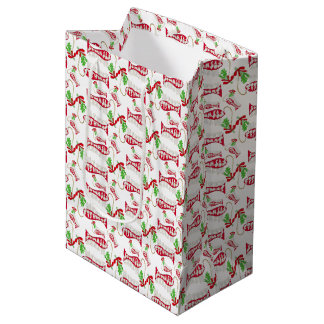 Funny Christmas Fishing Merry Fishmas ♫♥ Medium Gift Bag