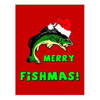 Funny Christmas fishing Postcard