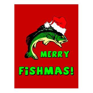 Funny Christmas fishing Postcard