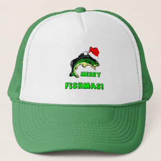 Funny Christmas fishing Trucker Hat