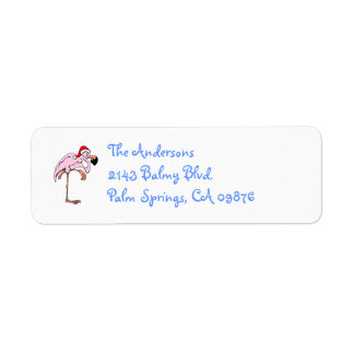 Funny Christmas Flamingo Address Label